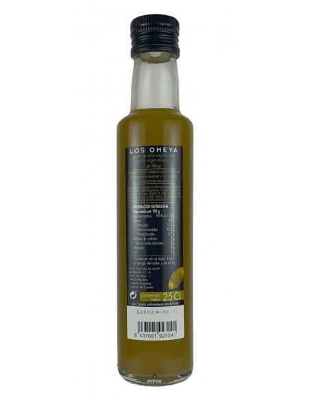 Los Omeya Aceite OVE sin Filtrar 25cl. contra-etiqueta