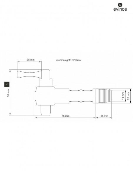 medidas grifo para barril de 32 litros