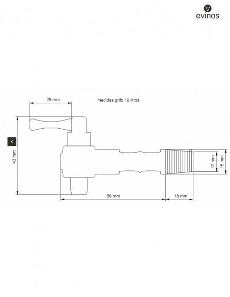 medidas grifo para barril de 16 litros
