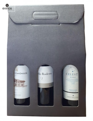 Estuche Carton Negro 3 botellas vino