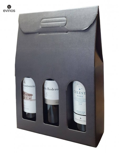 Estuche Carton Negro 3 botellas