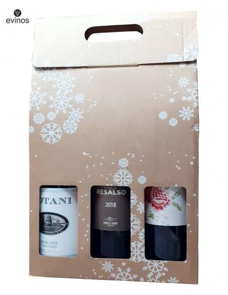 Estuche Cartón Navidad 3 botellas