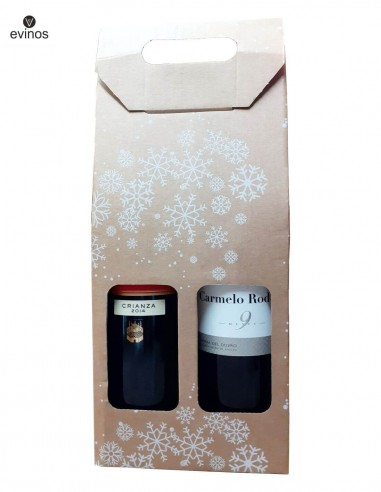 Estuche Cartón Navidad 2 botellas